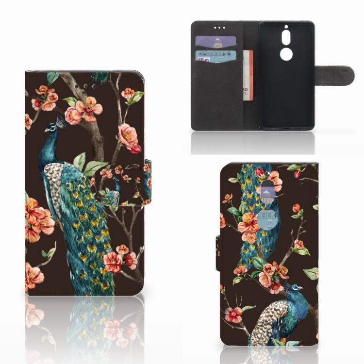 Nokia 7 Telefoonhoesje met Pasjes Pauw met Bloemen