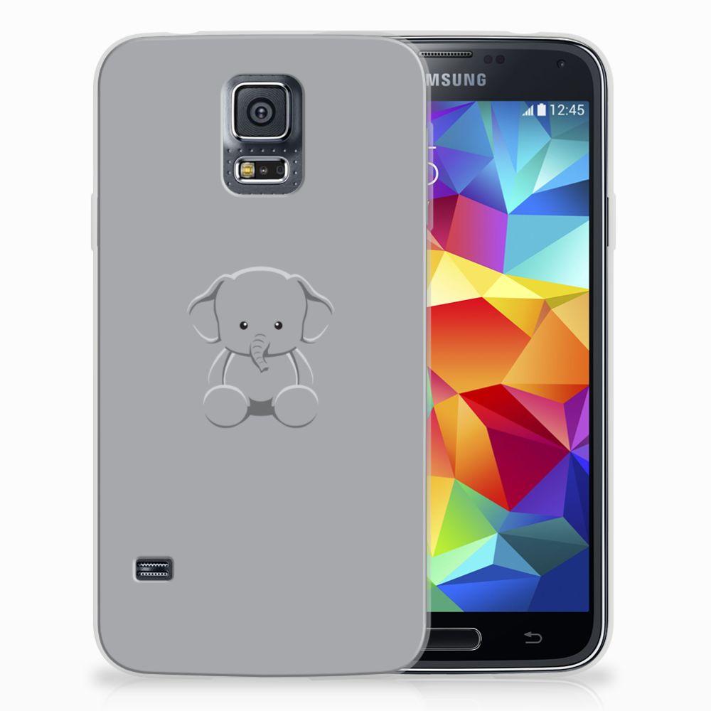 Samsung Galaxy S5 TPU Hoesje Grijs Baby Olifant