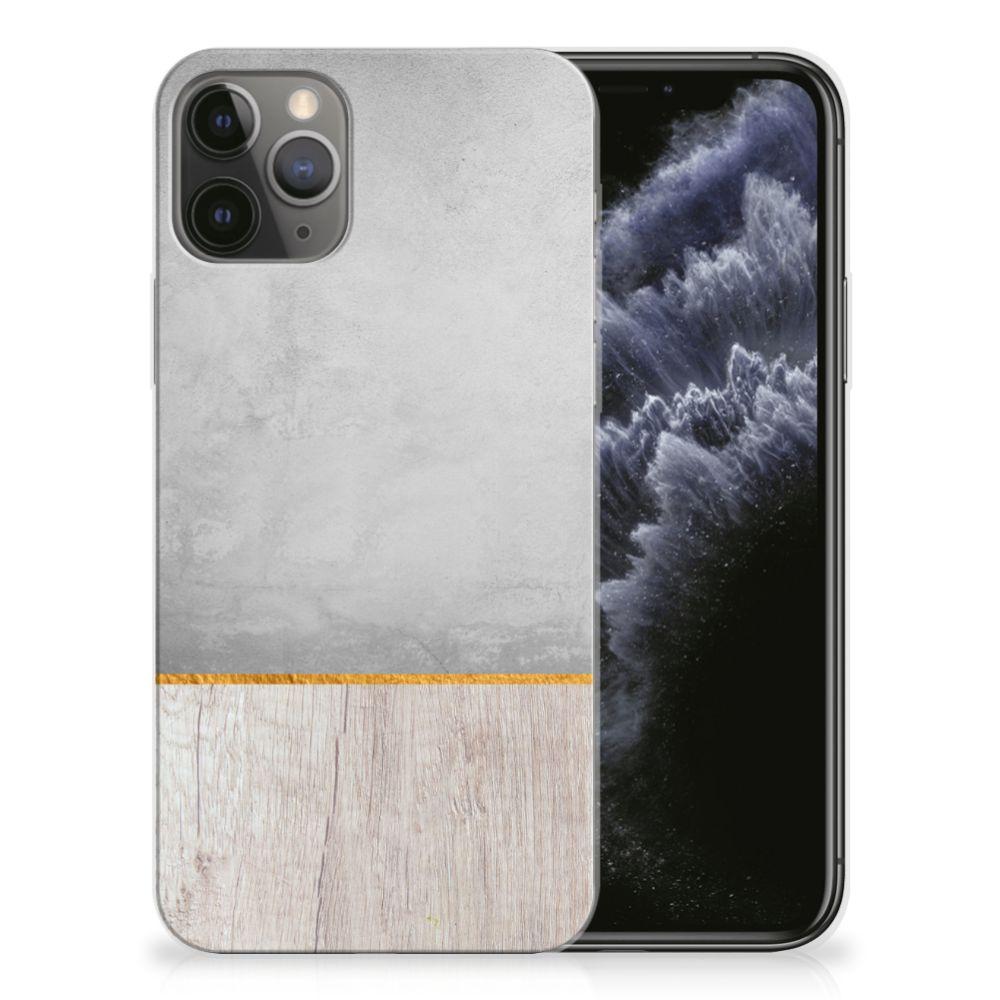 Apple iPhone 11 Pro Bumper Hoesje Wood Concrete