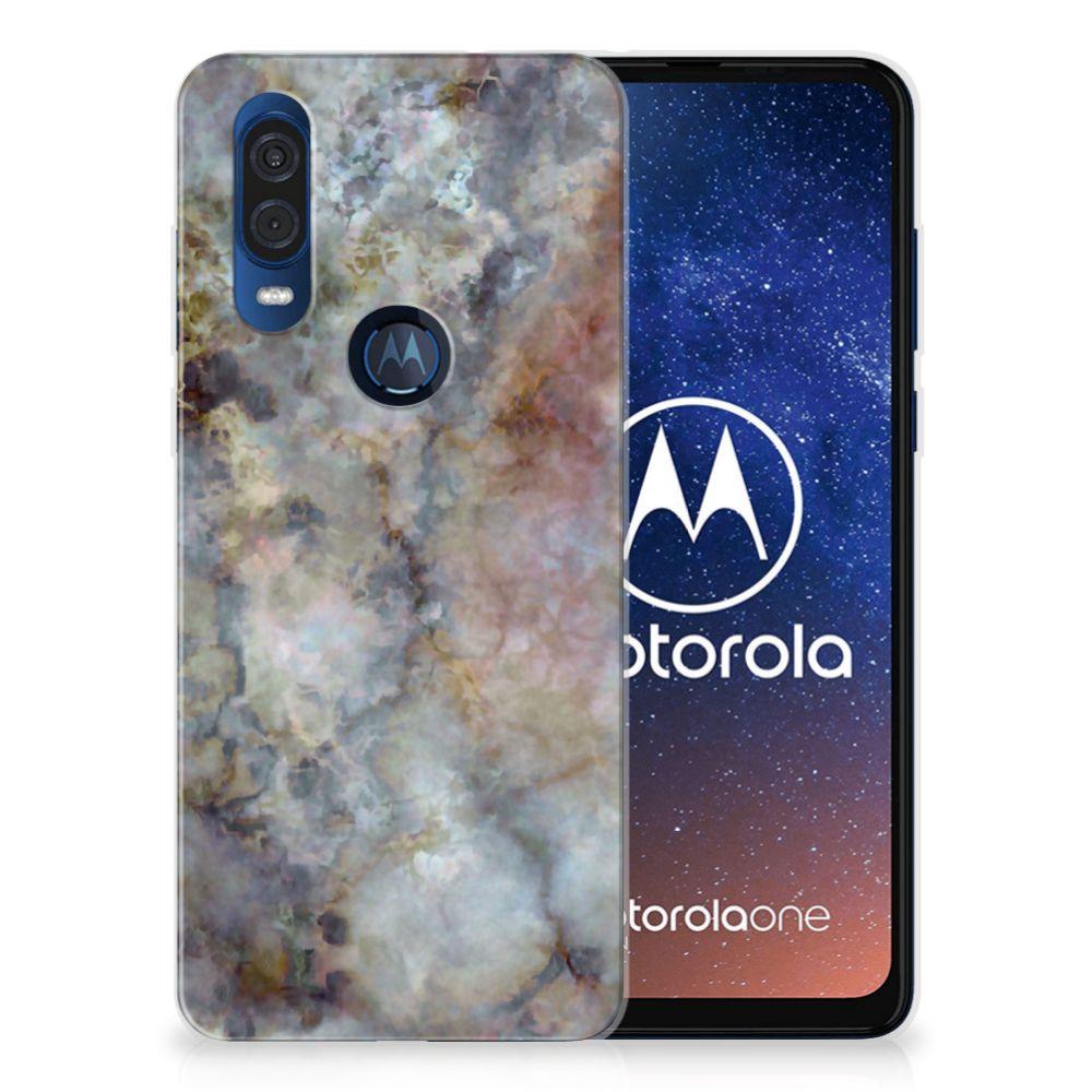 Motorola One Vision TPU Siliconen Hoesje Marmer Grijs