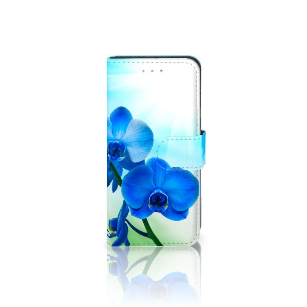 Samsung Galaxy S6 Edge Boekhoesje Design Orchidee Blauw