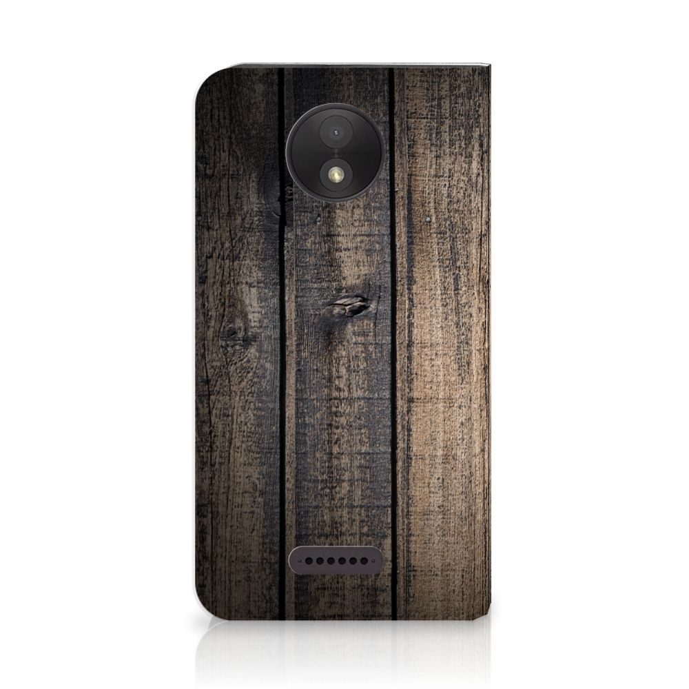 Motorola Moto C Plus Standcase Hoesje Design Steigerhout