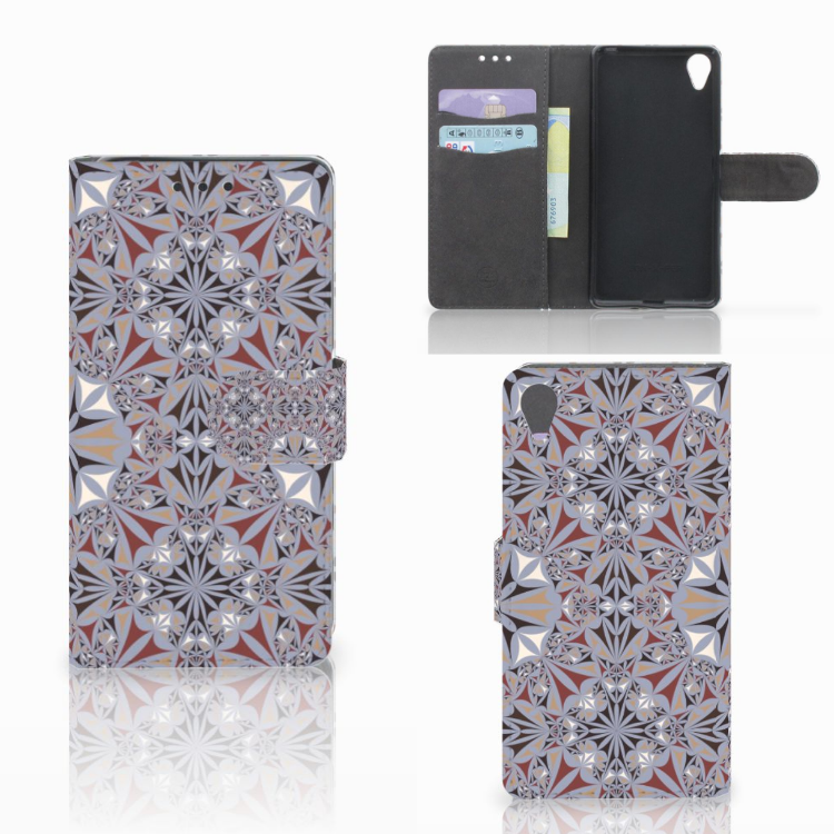 Sony Xperia X Bookcase Flower Tiles