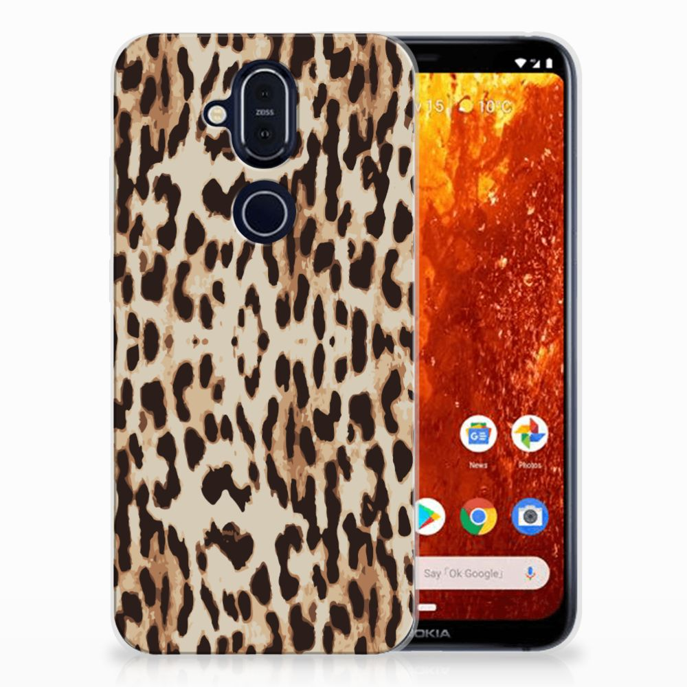 Nokia 8.1 Uniek TPU Hoesje Leopard
