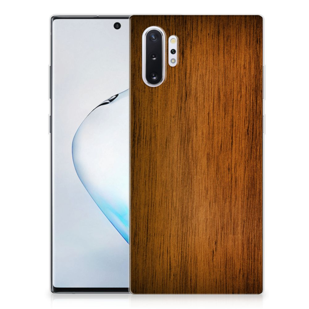 Samsung Galaxy Note 10 Plus Silicone Tablet Hoes Donker Hout