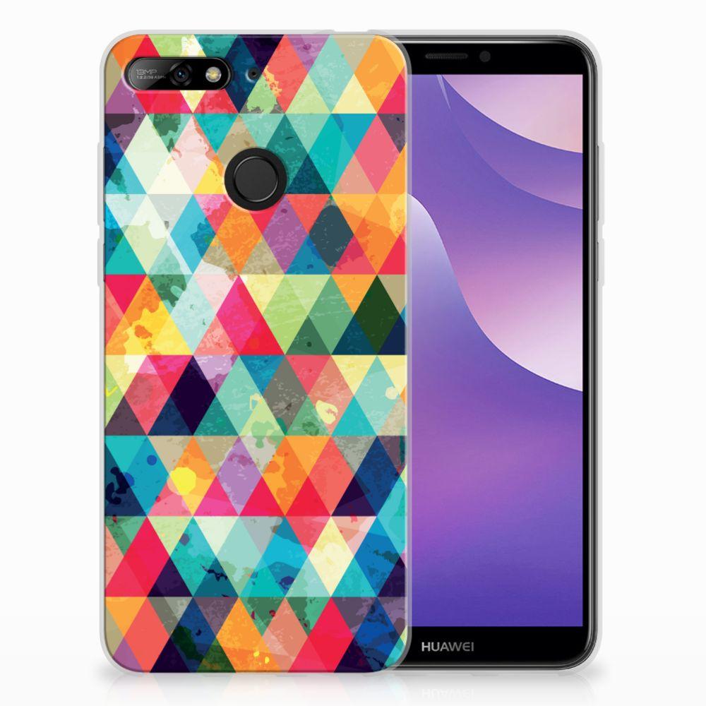 Huawei Y6 (2018) Uniek TPU Hoesje Geruit
