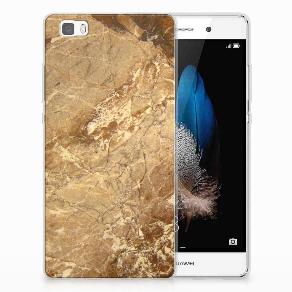 Huawei Ascend P8 Lite TPU Siliconen Hoesje Marmer Creme