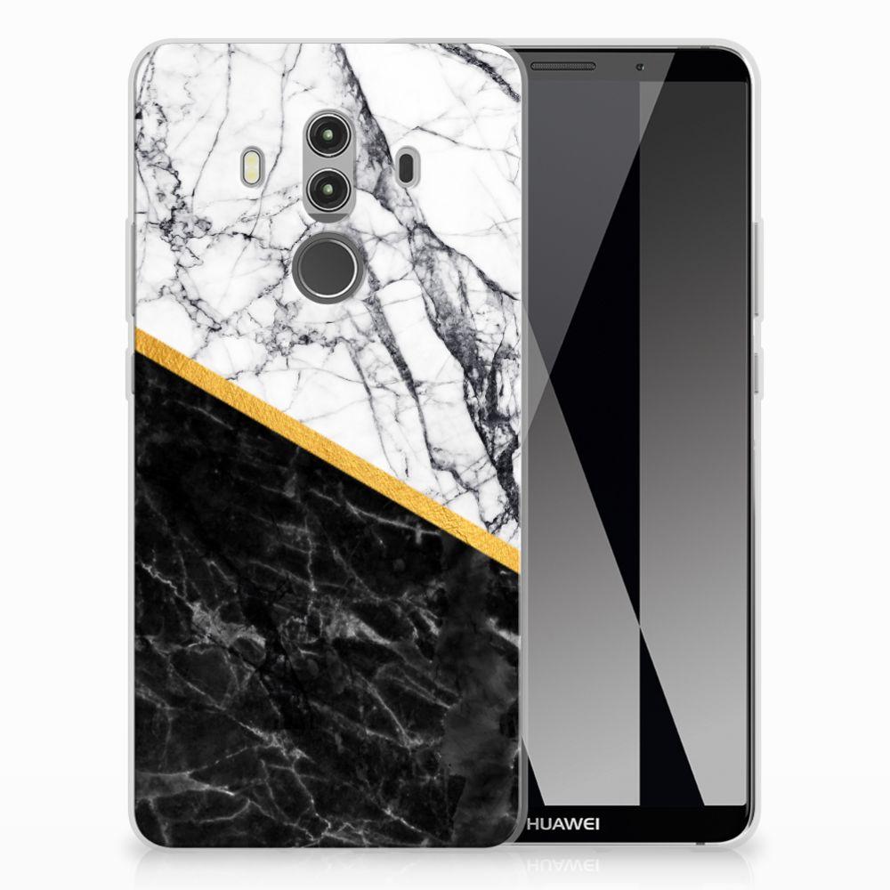 Huawei Mate 10 Pro TPU Siliconen Hoesje Marmer Wit Zwart