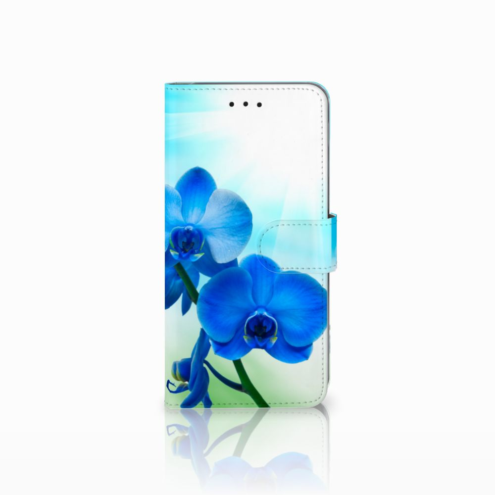 Samsung Galaxy A6 Plus 2018 Boekhoesje Design Orchidee Blauw