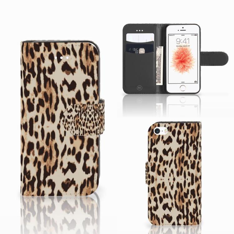 Apple iPhone 5 | 5s | SE Telefoonhoesje met Pasjes Leopard