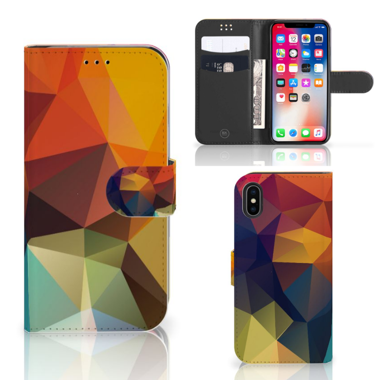 Apple iPhone X | Xs Bookcase Polygon Color