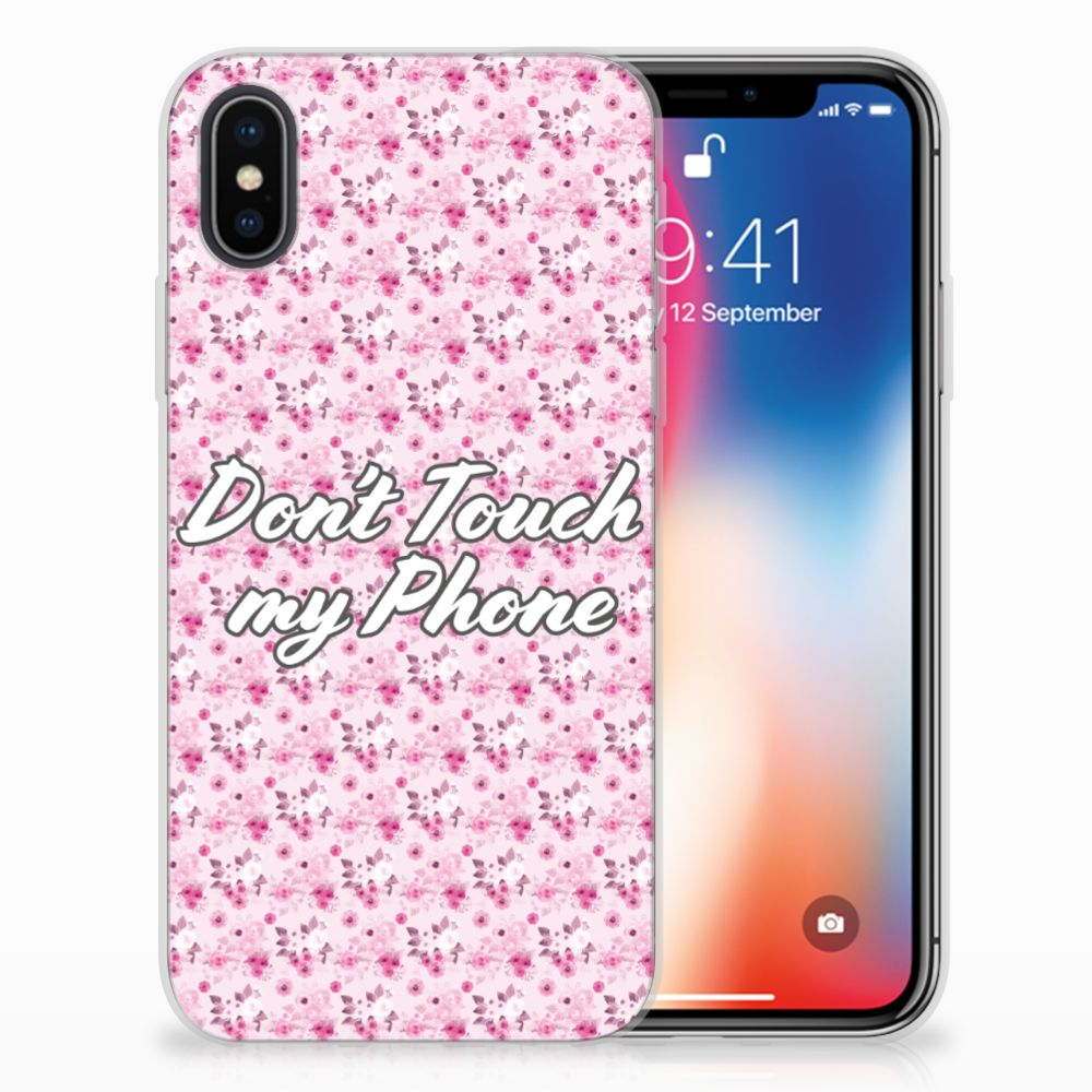 Apple iPhone X | Xs Uniek TPU Hoesje Flowers Pink DTMP