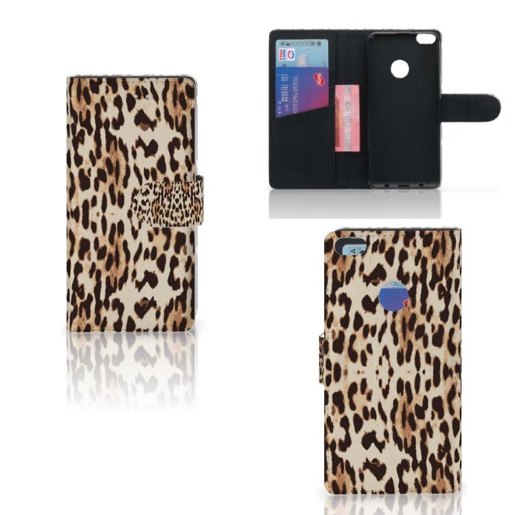 Huawei P8 Lite 2017 Telefoonhoesje met Pasjes Leopard