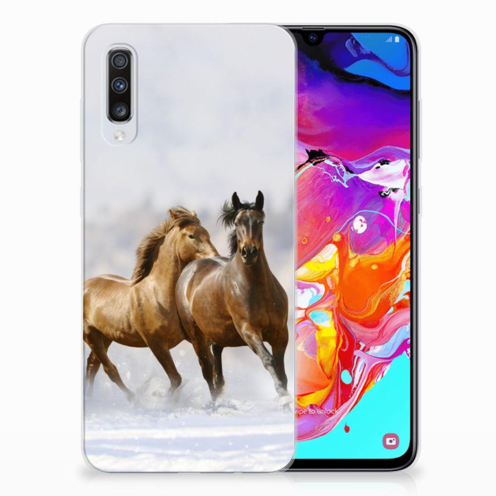 Samsung Galaxy A70 TPU Hoesje Paarden