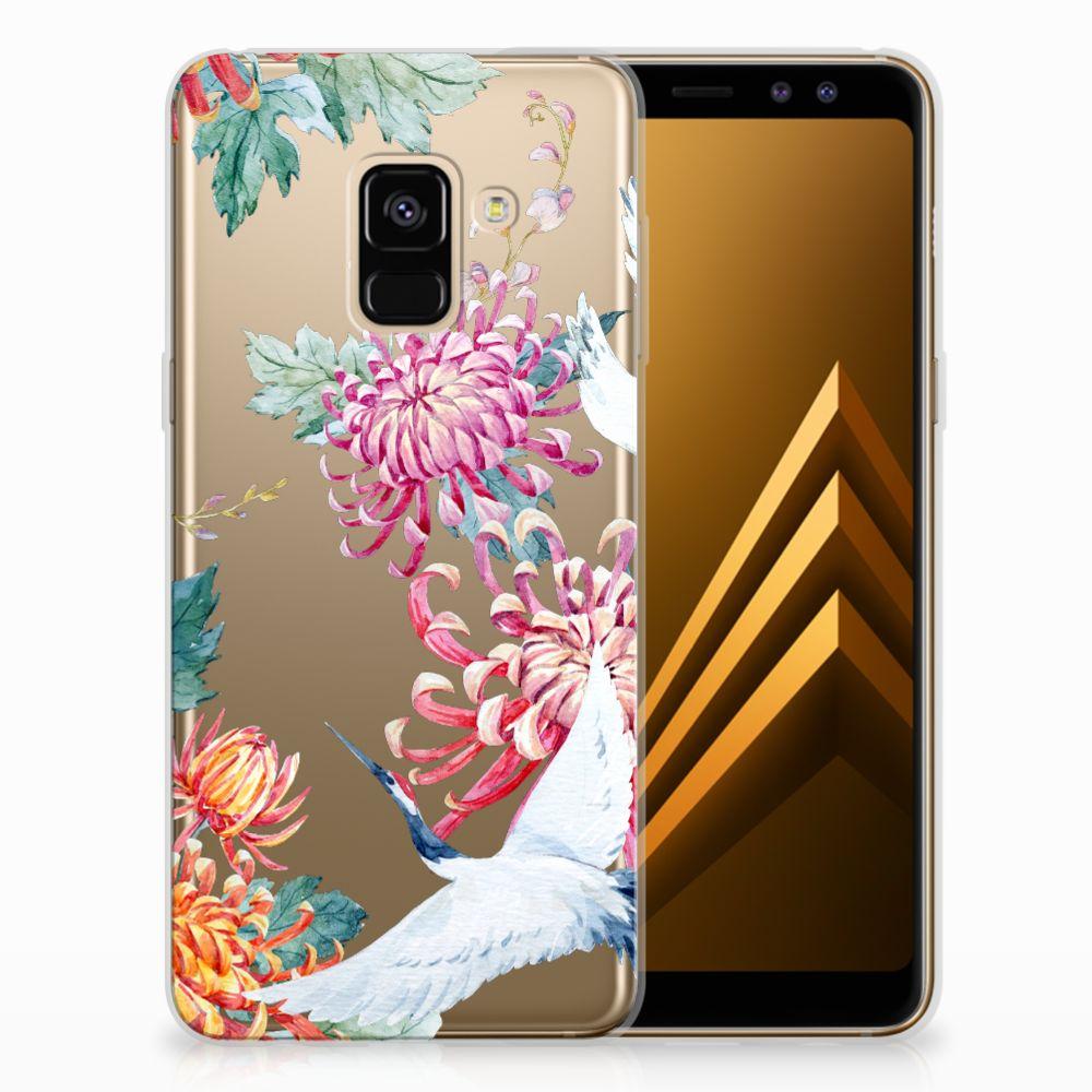 Samsung Galaxy A8 (2018) Uniek TPU Hoesje Bird Flowers