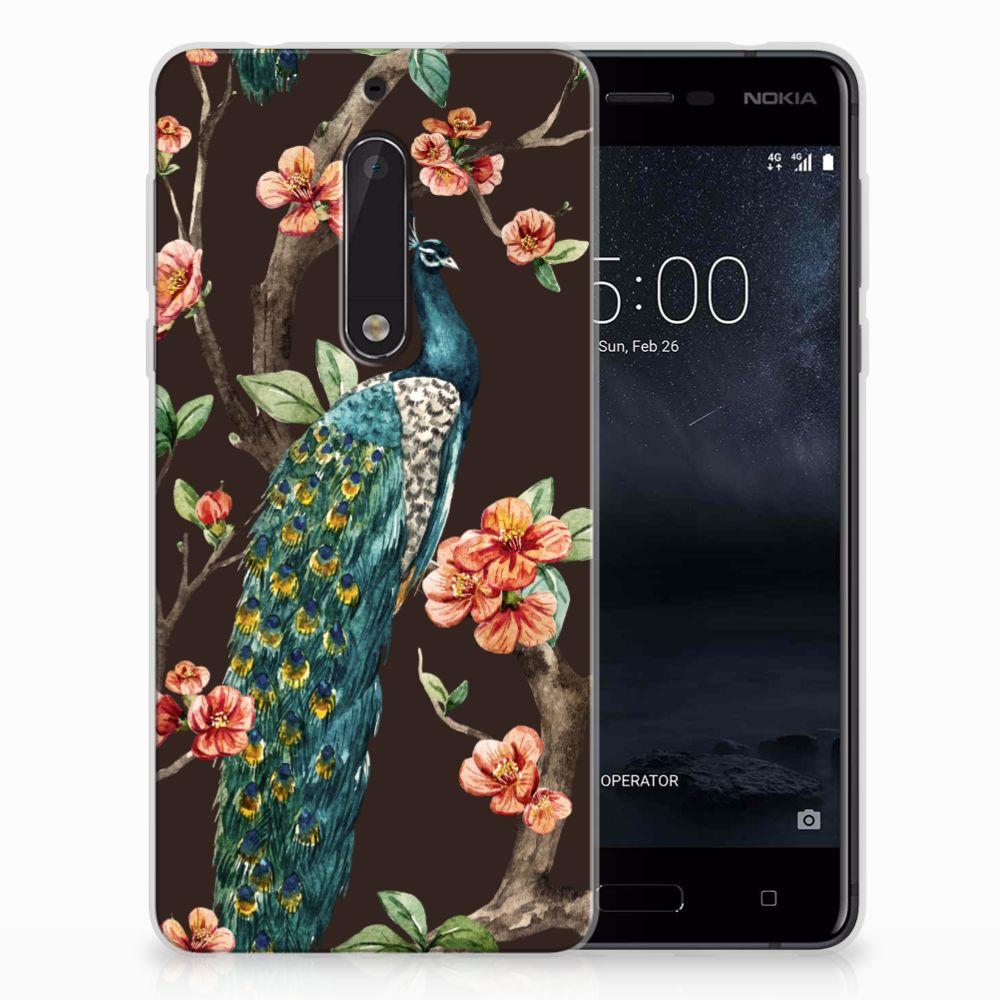 Nokia 5 TPU Hoesje Design Pauw met Bloemen