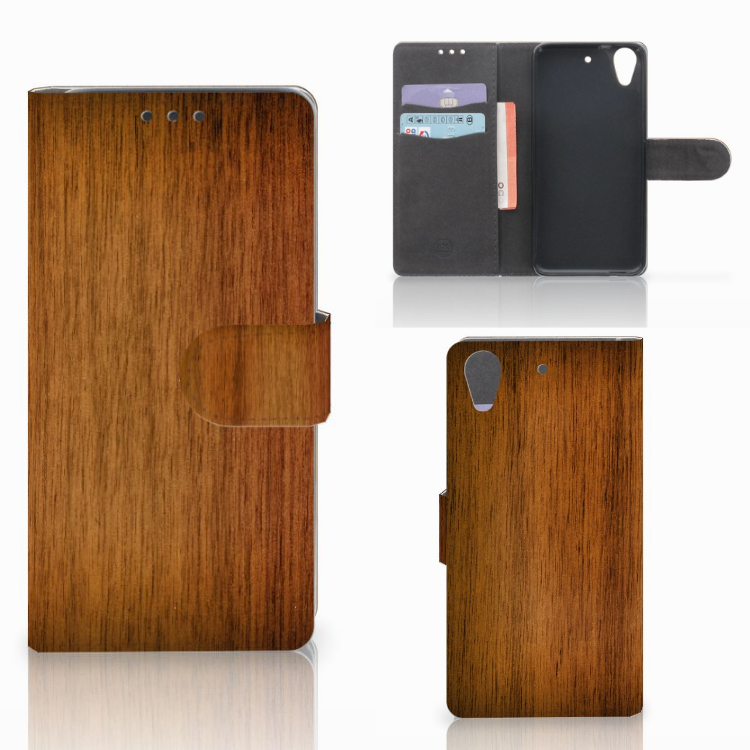 HTC Desire 626 | Desire 626s Book Style Case Donker Hout