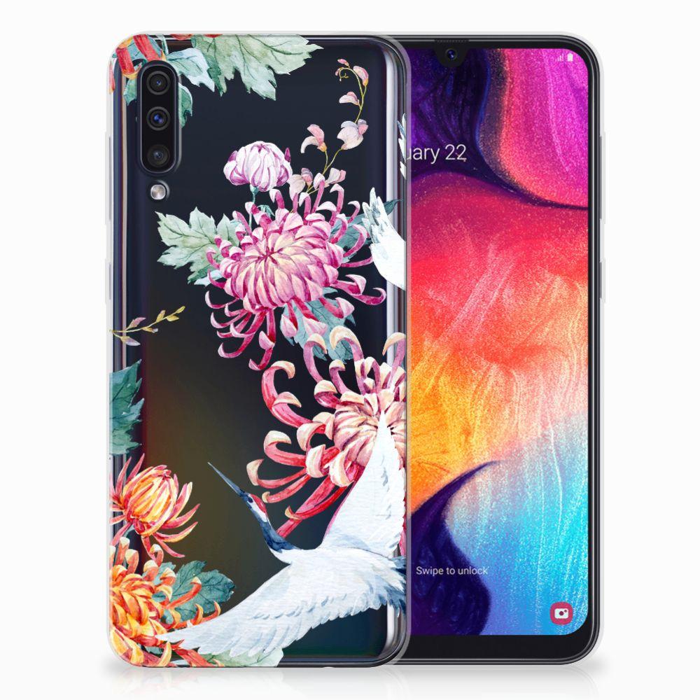 Samsung Galaxy A50 Leuk Hoesje Bird Flowers