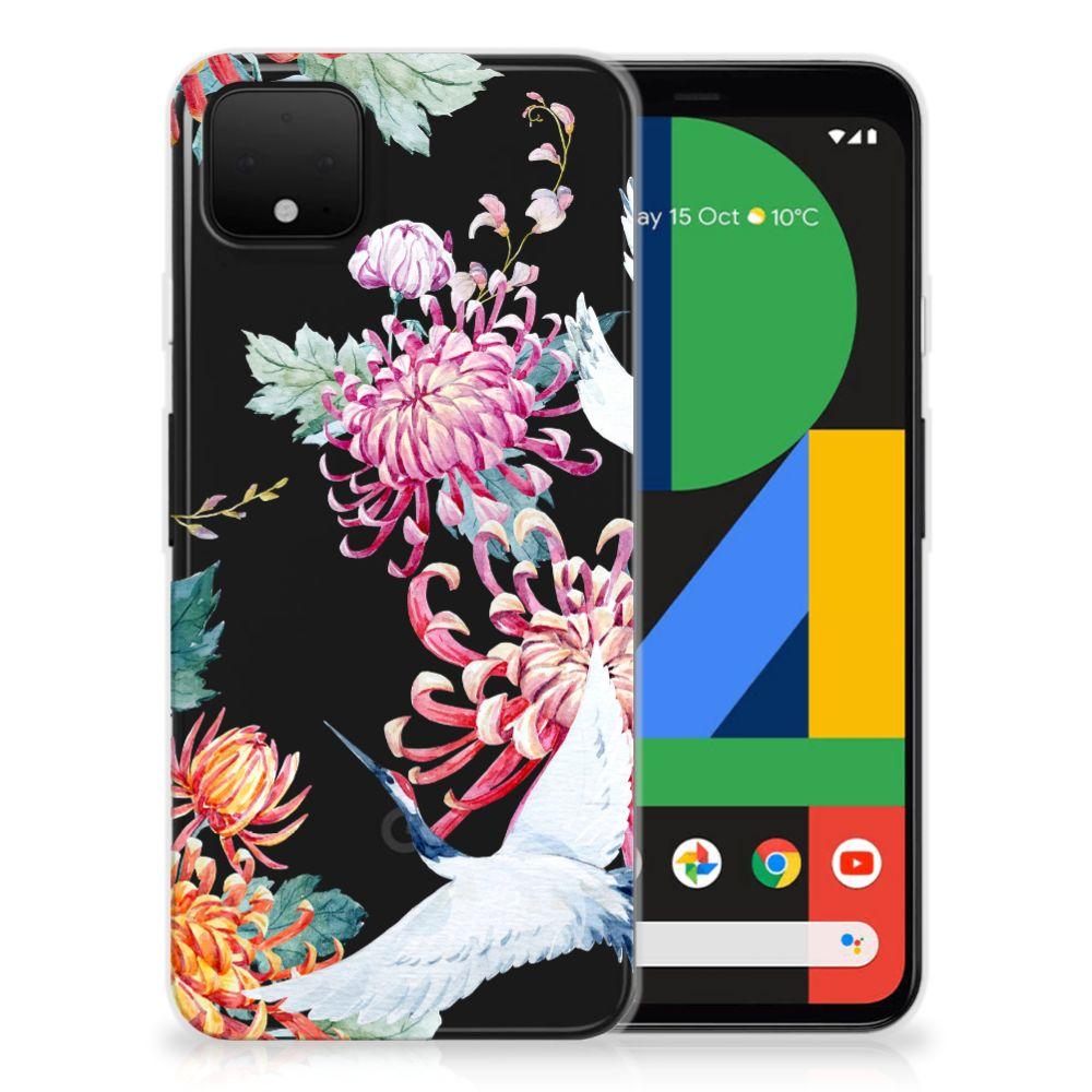 Google Pixel 4 XL TPU Hoesje Bird Flowers