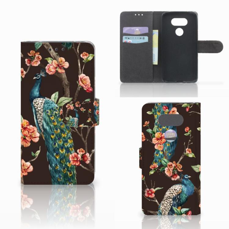 LG G5 Telefoonhoesje met Pasjes Pauw met Bloemen