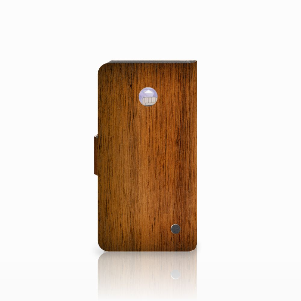 Nokia Lumia 630 Book Style Case Donker Hout