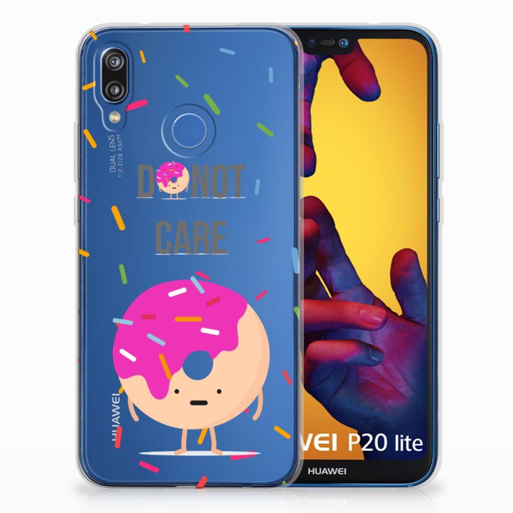 Huawei P20 Lite Siliconen Case Donut Roze