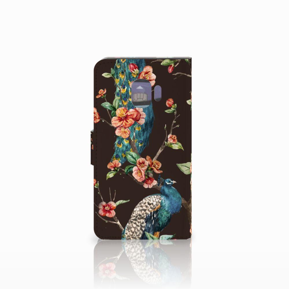 Samsung Galaxy J2 Pro 2018 Telefoonhoesje met Pasjes Pauw met Bloemen