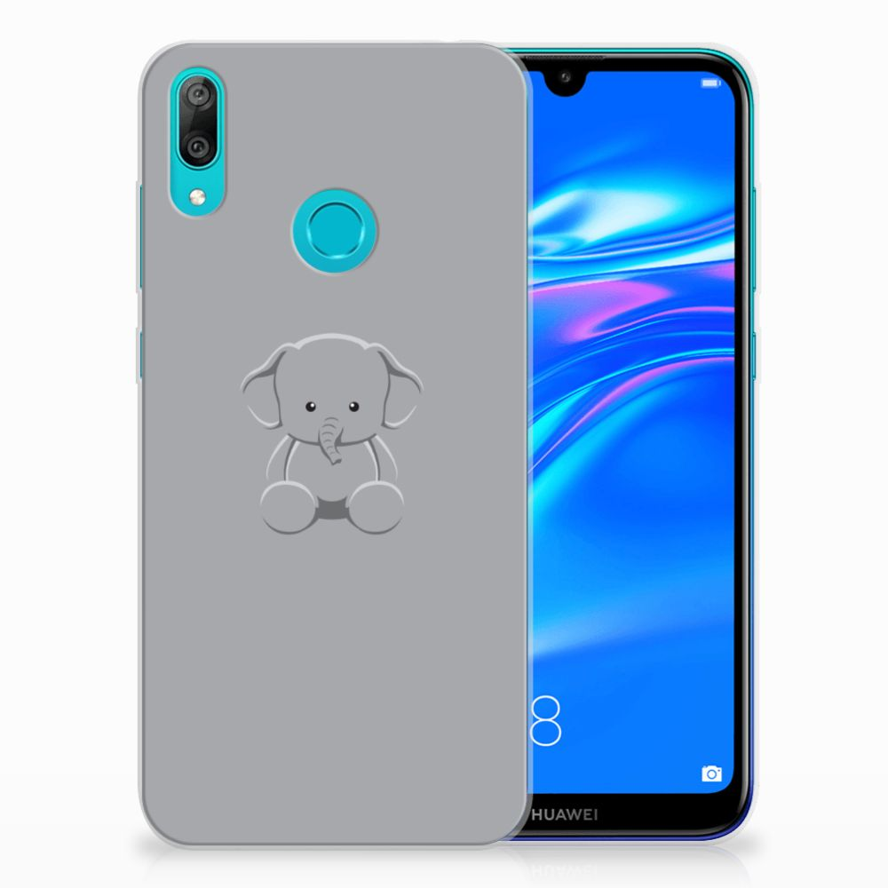 Huawei Y7 2019 Telefoonhoesje met Naam Grijs Baby Olifant