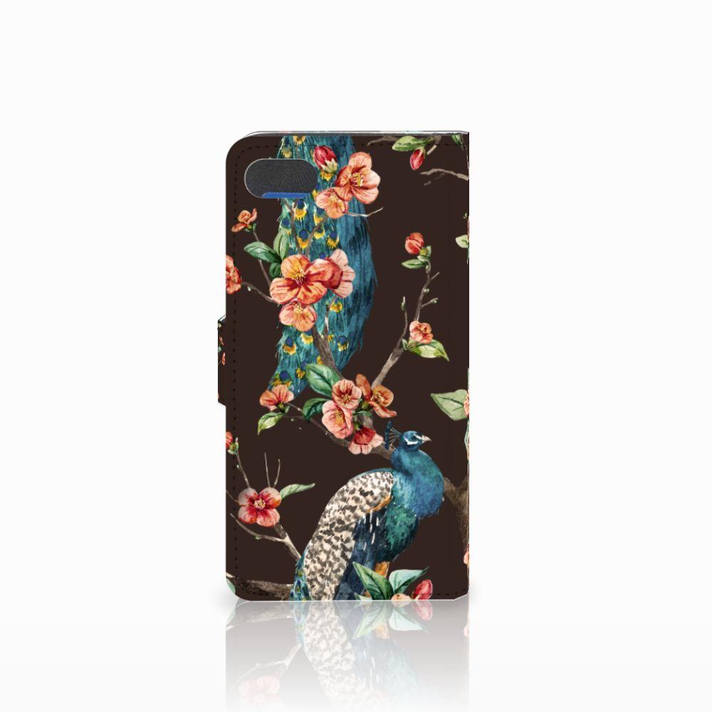 Huawei Y5 2018 Telefoonhoesje met Pasjes Pauw met Bloemen