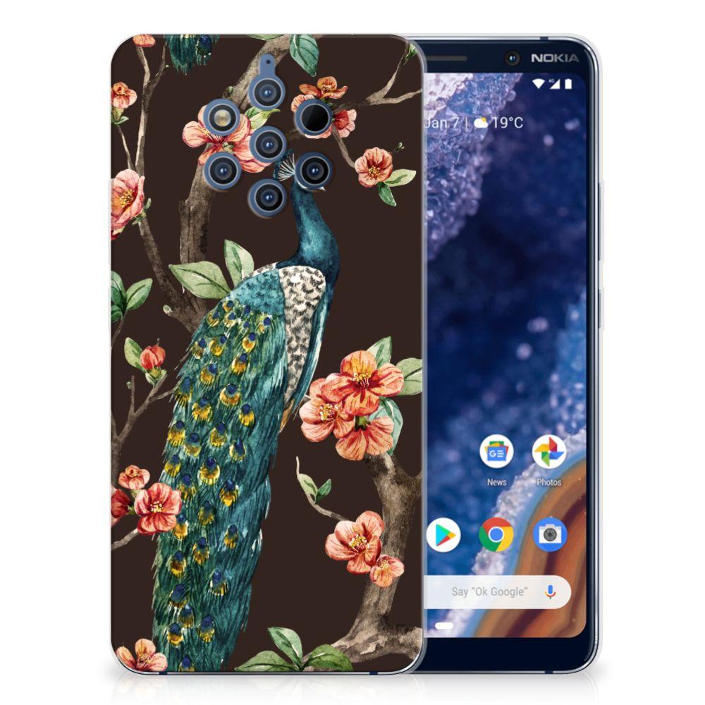 Nokia 9 PureView TPU Hoesje Pauw met Bloemen