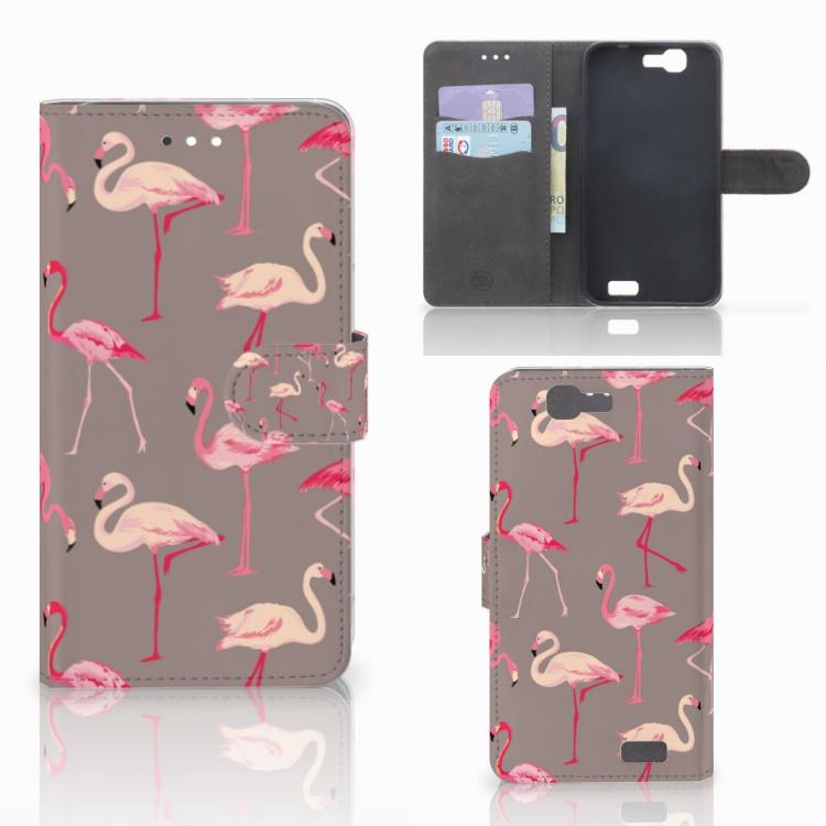 Huawei Ascend G7 Telefoonhoesje met Pasjes Flamingo