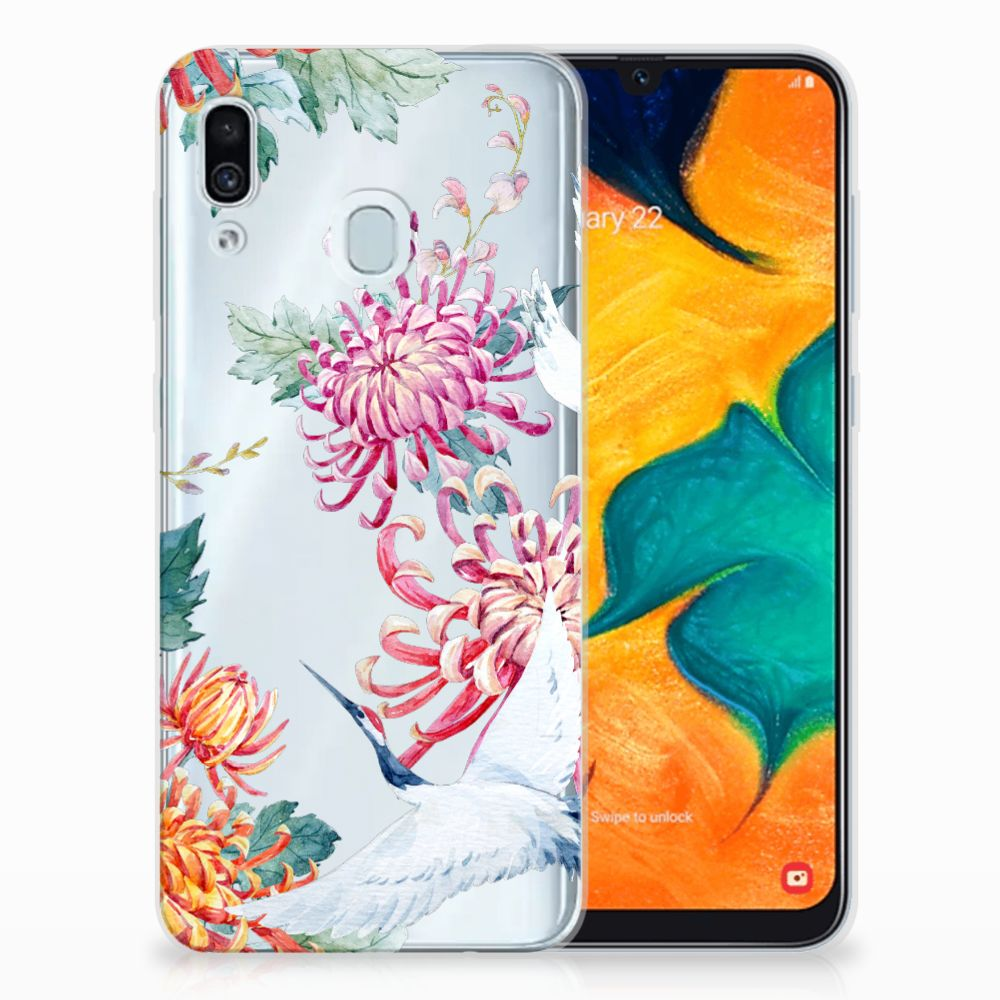 Samsung Galaxy A30 TPU Hoesje Bird Flowers