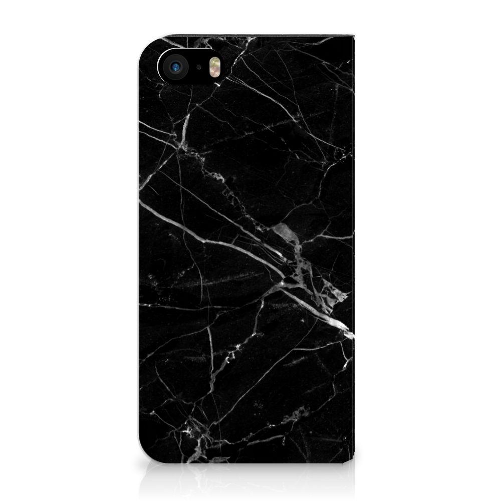 iPhone SE|5S|5 Uniek Standcase Hoesje Marmer Zwart