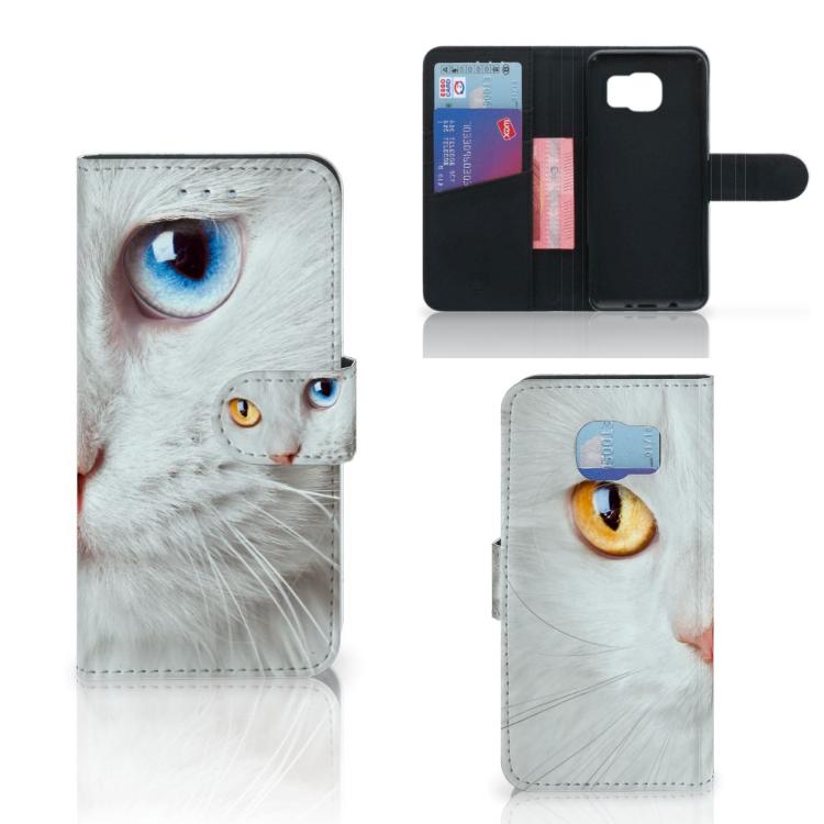 Samsung Galaxy S6 | S6 Duos Telefoonhoesje met Pasjes Witte Kat