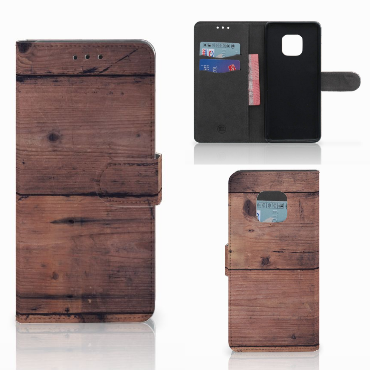Huawei Mate 20 Pro Book Style Case Old Wood