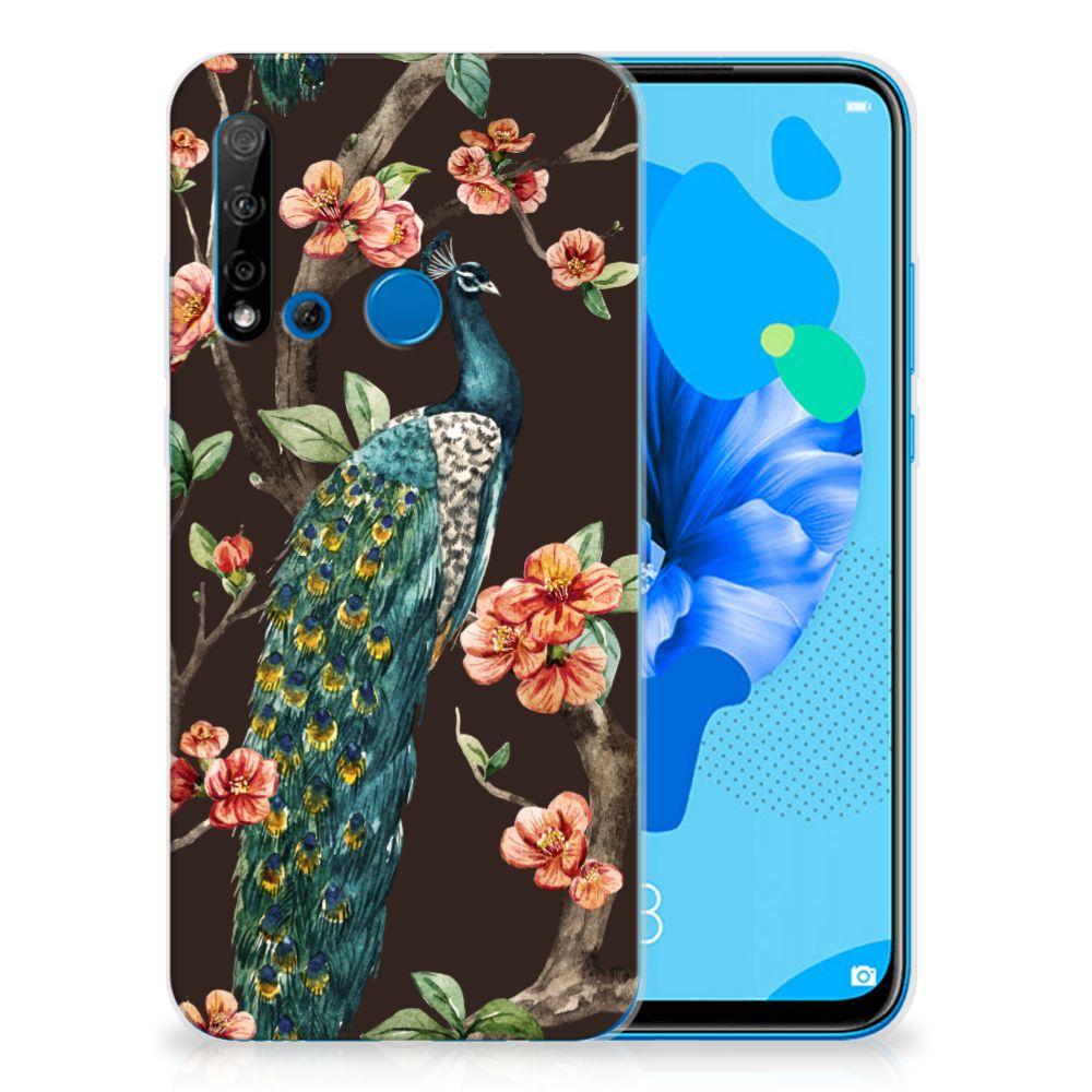 Huawei P20 Lite (2019) TPU Hoesje Pauw met Bloemen