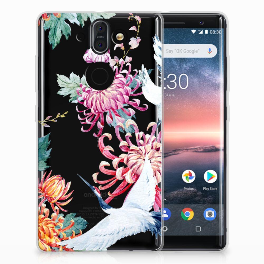 Nokia 9   8 Sirocco Uniek TPU Hoesje Bird Flowers