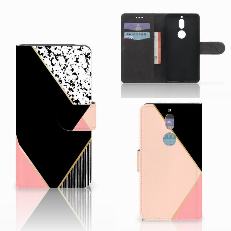 Nokia 7 Bookcase Zwart Roze Vormen