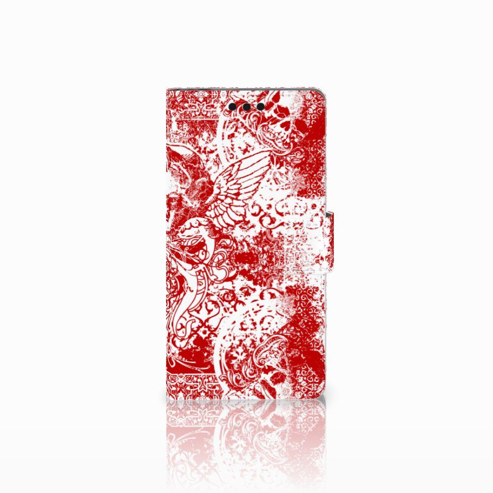 Sony Xperia M4 Aqua Boekhoesje Design Angel Skull Red