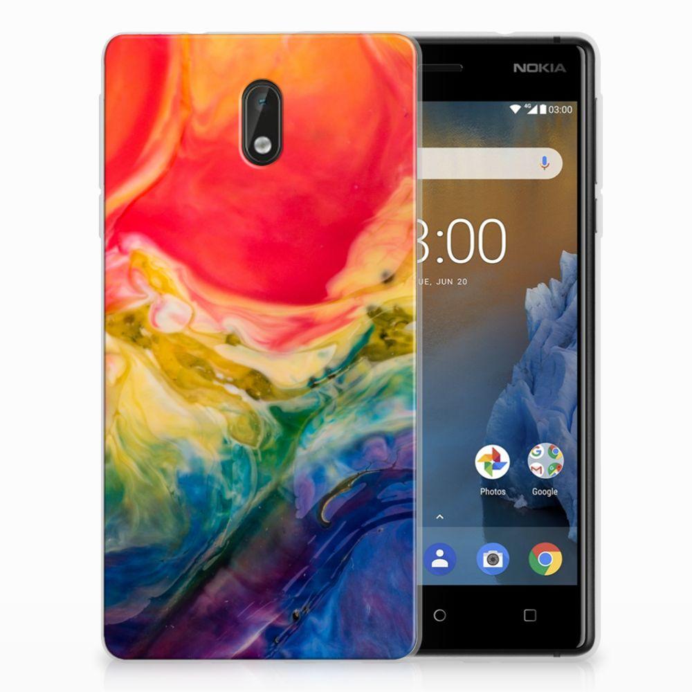 Nokia 3 Uniek TPU Hoesje Watercolor Dark