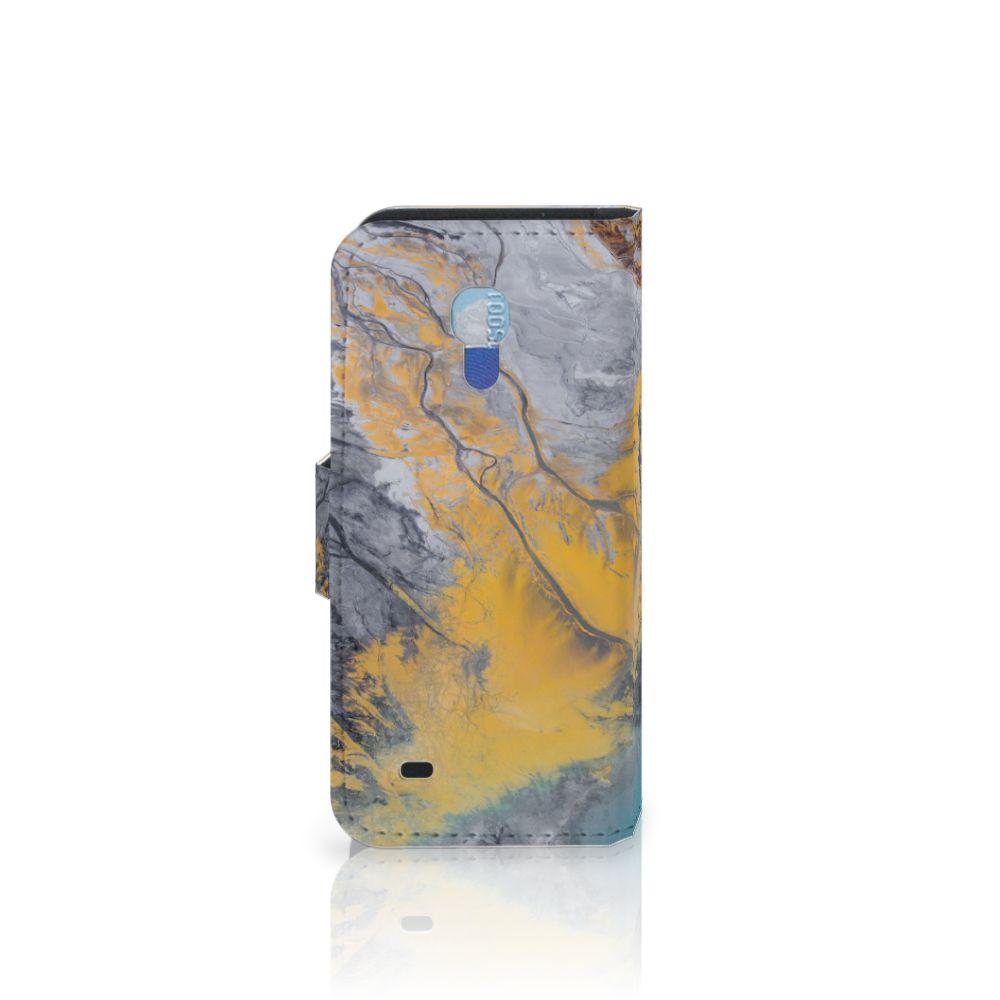 Samsung Galaxy S4 Mini i9190 Bookcase Marble Blue Gold