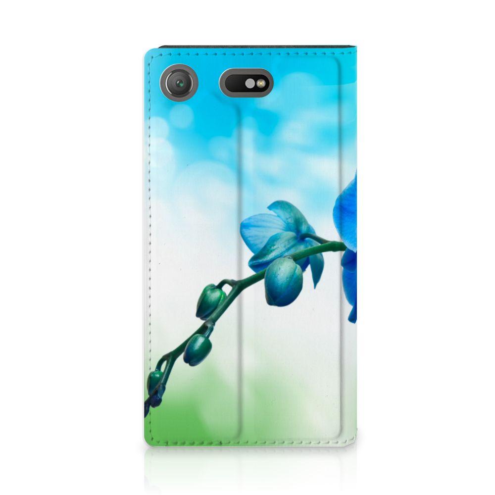 Sony Xperia XZ1 Compact Standcase Hoesje Design Orchidee Blauw