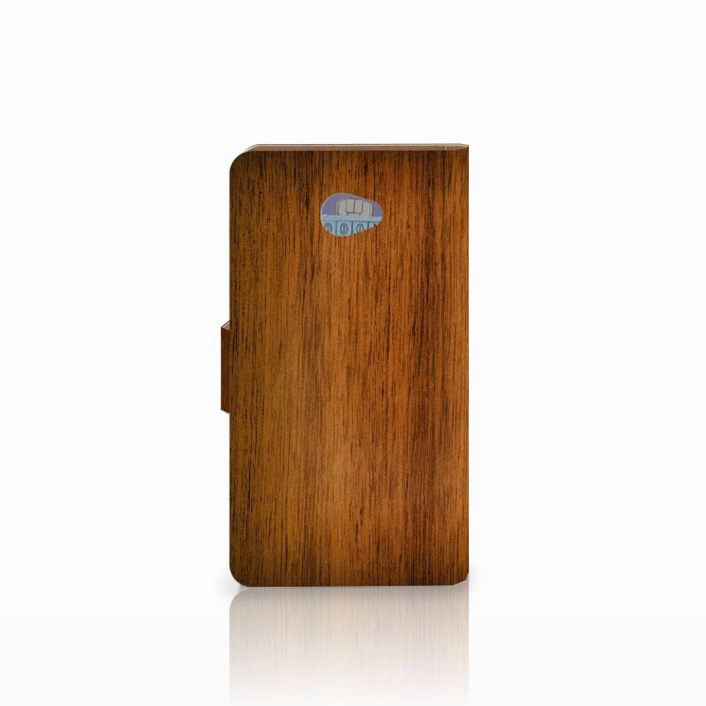 HTC Desire 601 Book Style Case Donker Hout