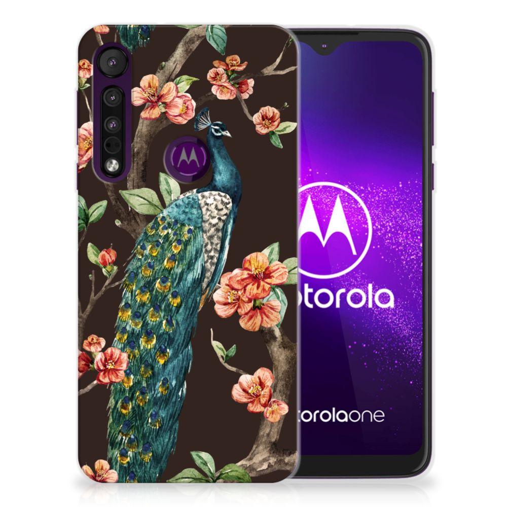 Motorola One Macro TPU Hoesje Pauw met Bloemen