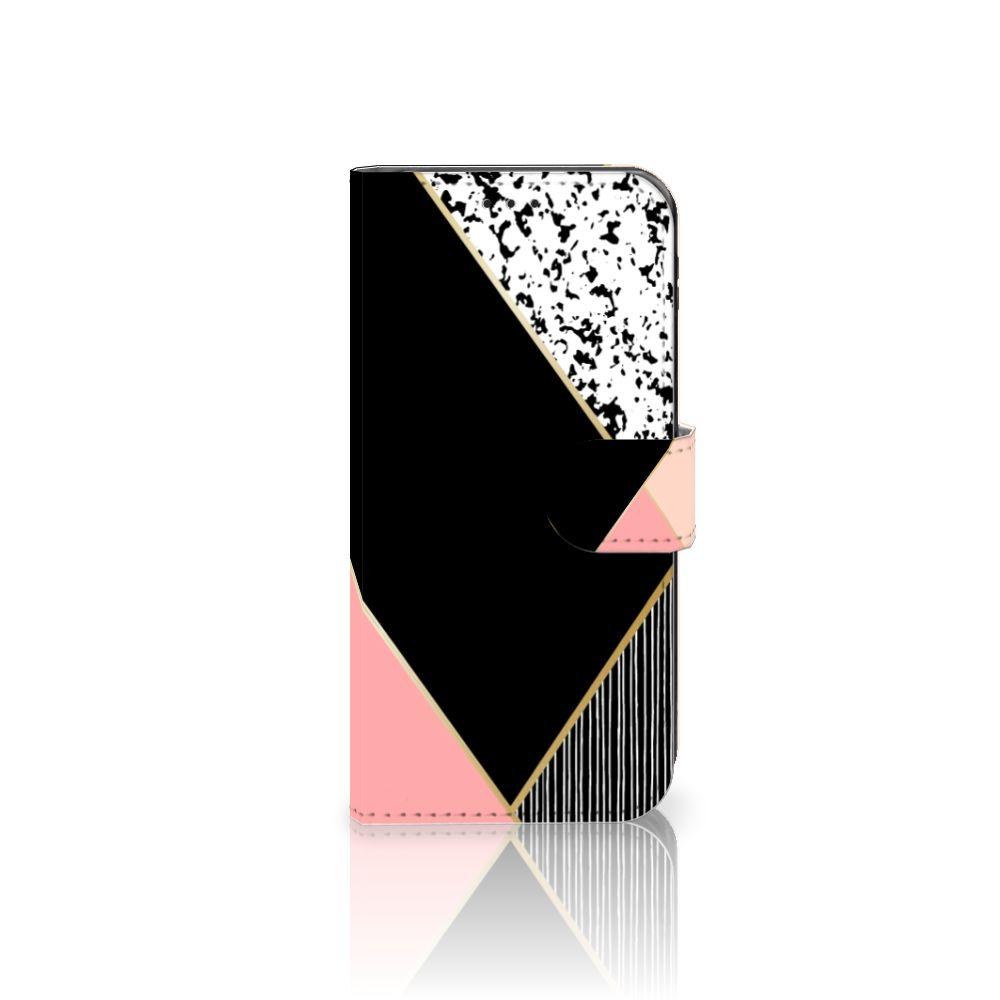 Samsung Galaxy J5 2017 Uniek Boekhoesje Black Pink Shapes