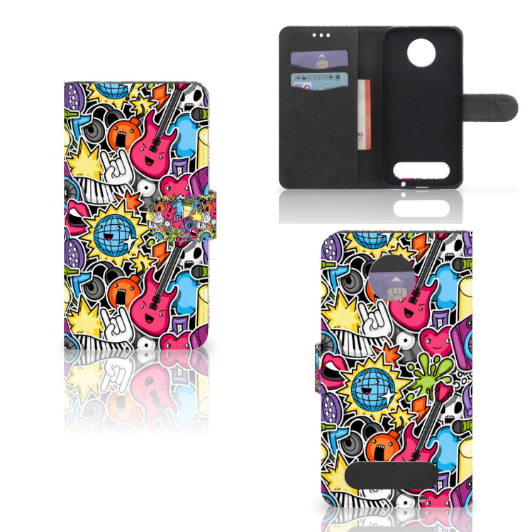 Motorola Moto Z2 Force Wallet Case met Pasjes Punk Rock