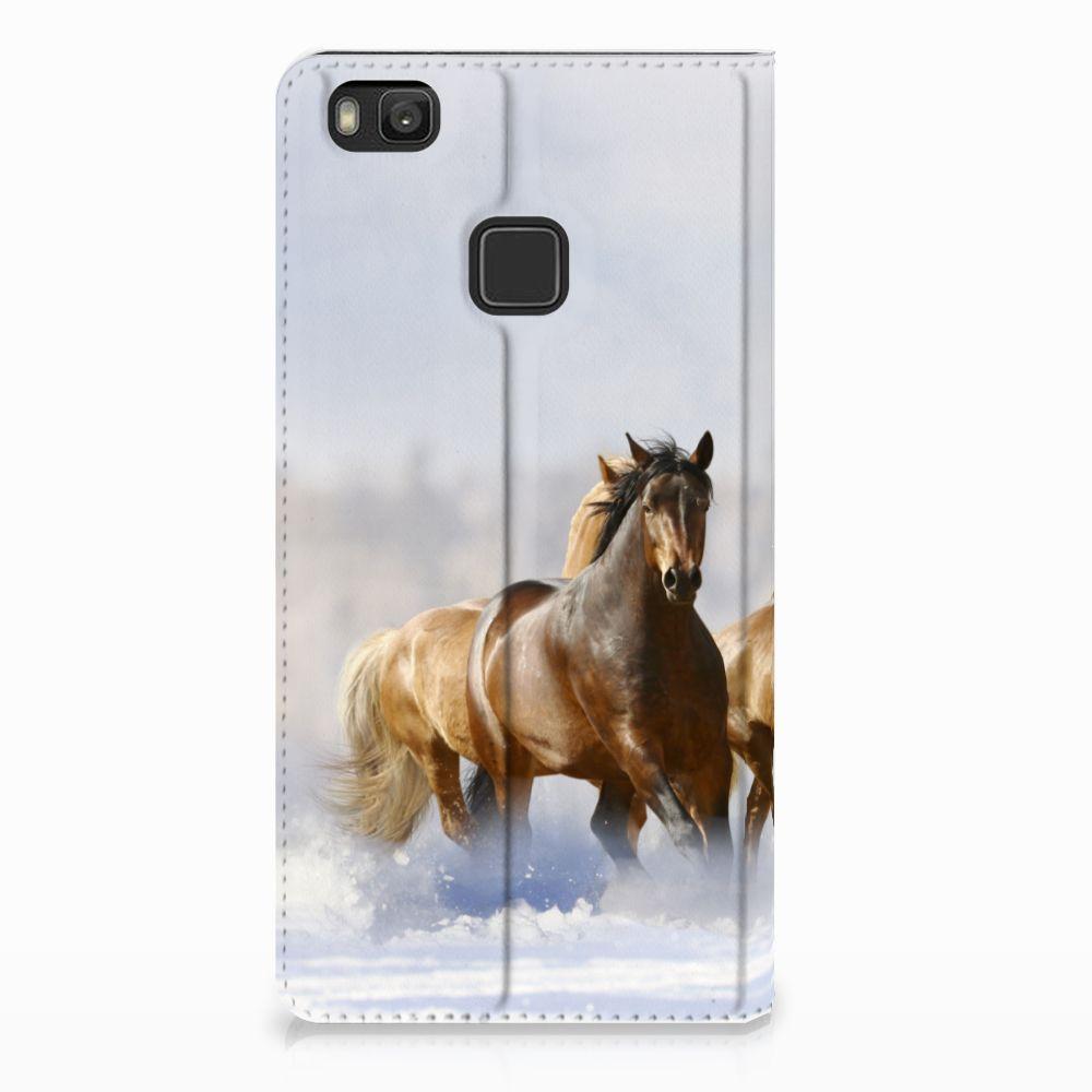 Huawei P9 Lite Uniek Standcase Hoesje Paarden