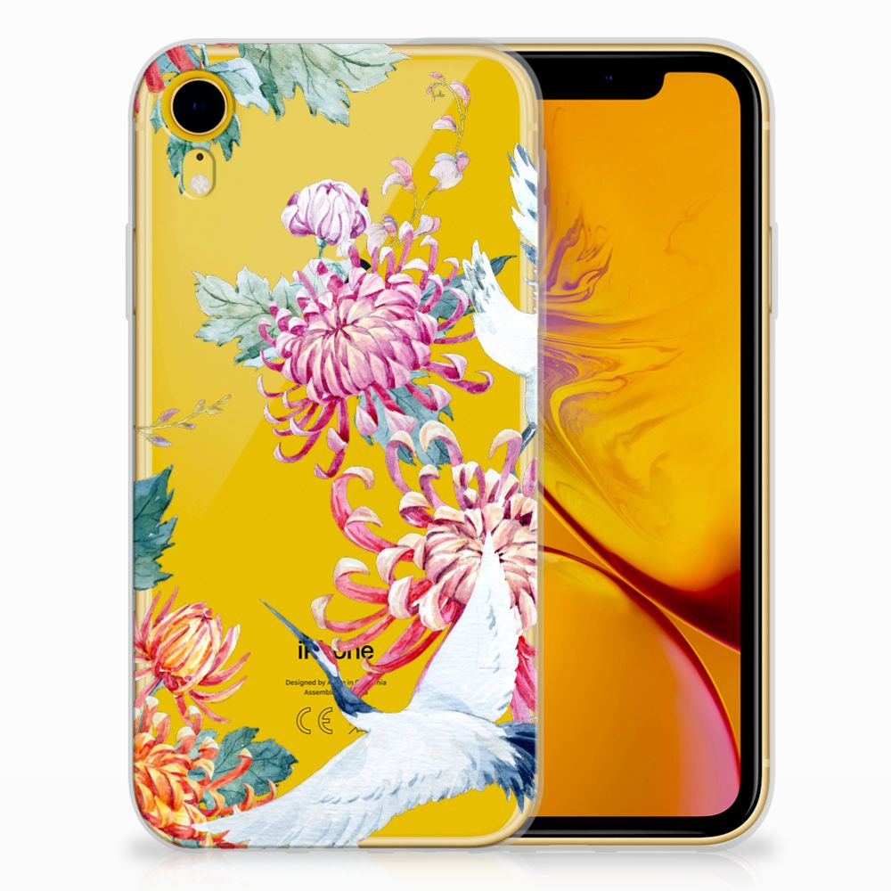 Apple iPhone Xr Uniek TPU Hoesje Bird Flowers