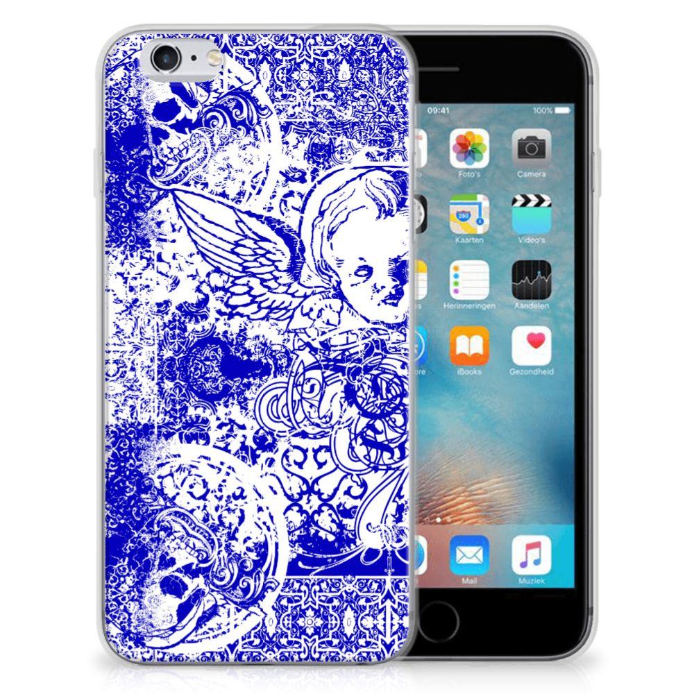 Silicone Back Case Apple iPhone 6   6s Angel Skull Blauw