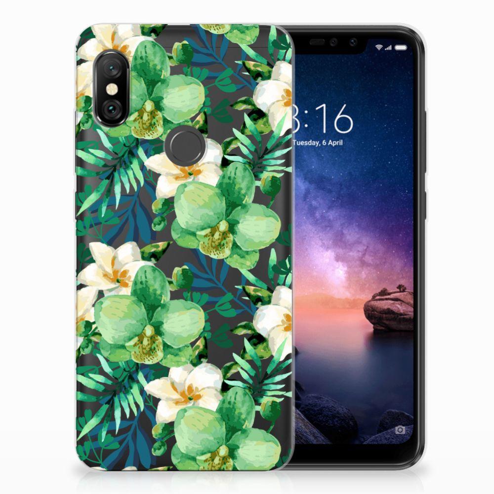 Xiaomi Redmi Note 6 Pro Uniek TPU Hoesje Orchidee Groen